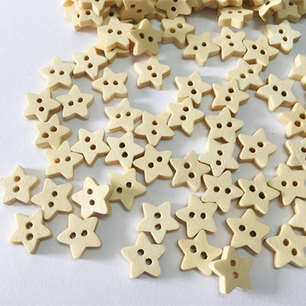 botones de estrella de madera